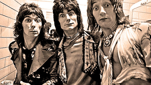 Rod Stewart with Ian McLagen and Ronnie Wood