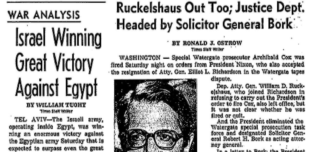 Saturday Night Massacre Headlines