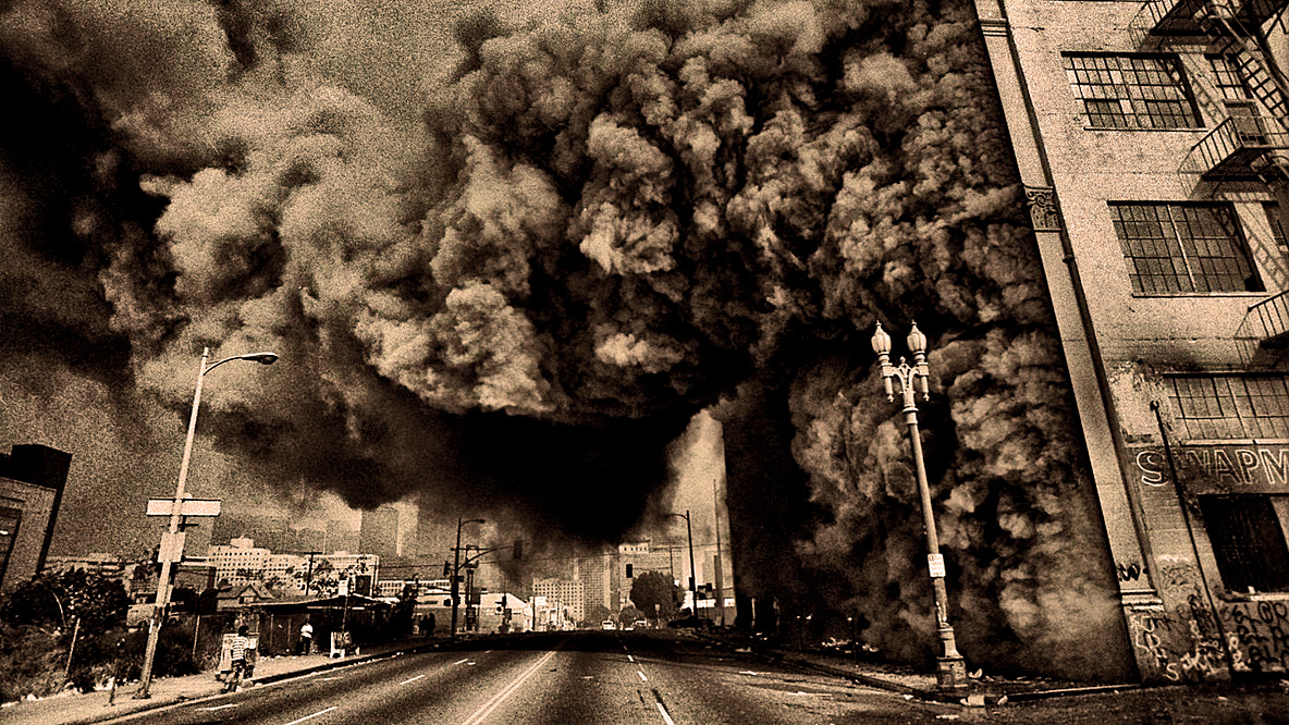 """April 30, 1992 – Los Angeles: """"Roses Are Red, Skies Are Brown – Buildings Are Burning, All Over Town"""""""