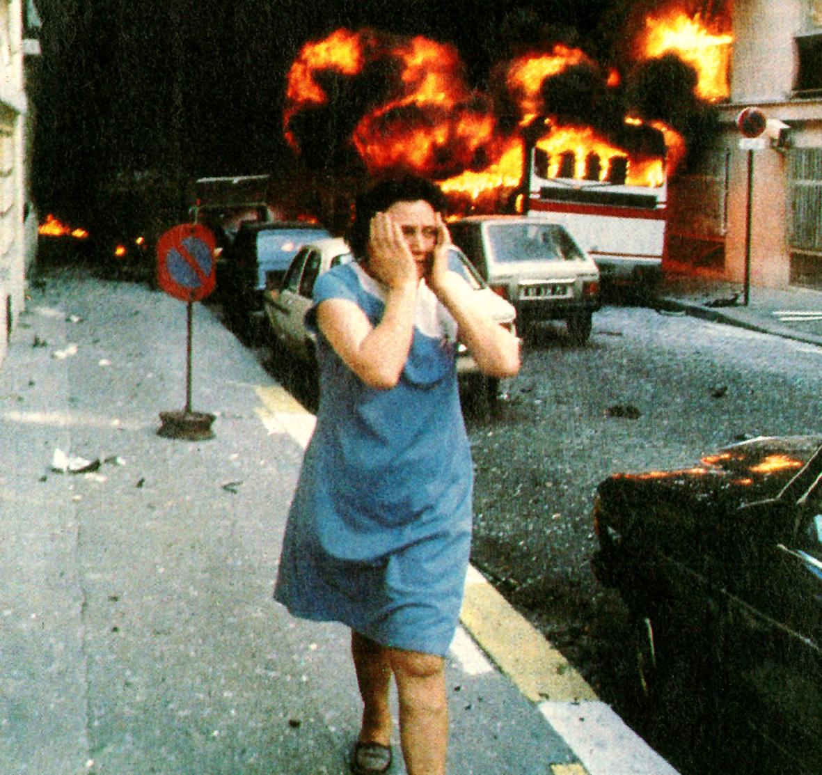 While withdrawal in Beirut, Terrorist bombing in Paris