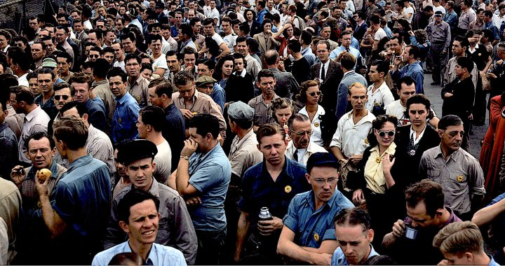 Factory workers in the 1950s
